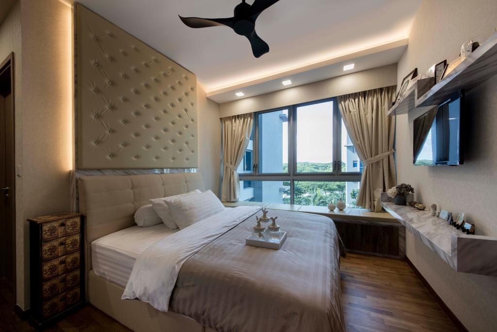 Modern, Condo, Bedroom, Q Bay Residence, Interior Designer, Starry Homestead, Bed, Furniture, Sink, Indoors, Interior Design, Room