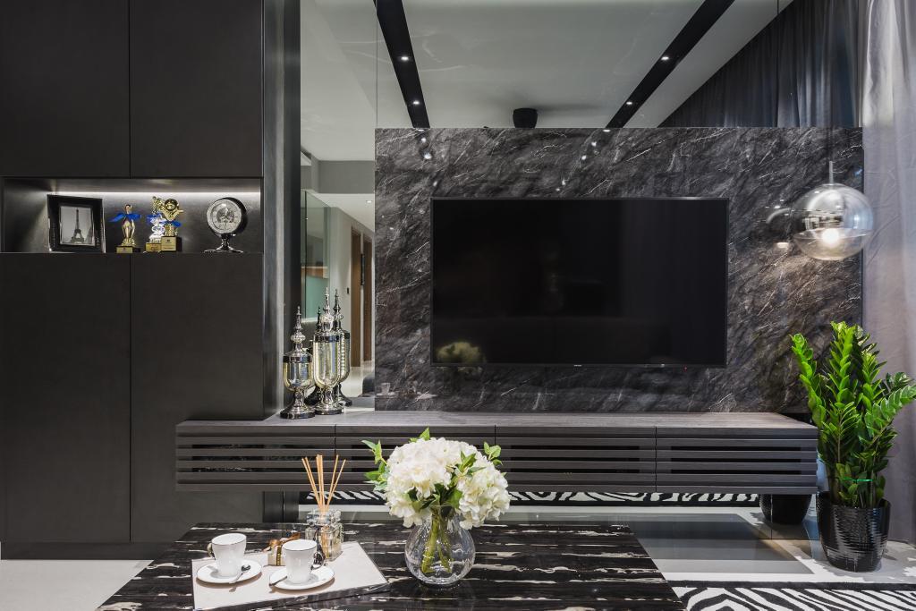 Modern, Condo, Living Room, Q Bay Residence, Interior Designer, Mr Shopper Studio, Contemporary, Fireplace, Hearth, Flora, Jar, Plant, Potted Plant, Pottery, Vase