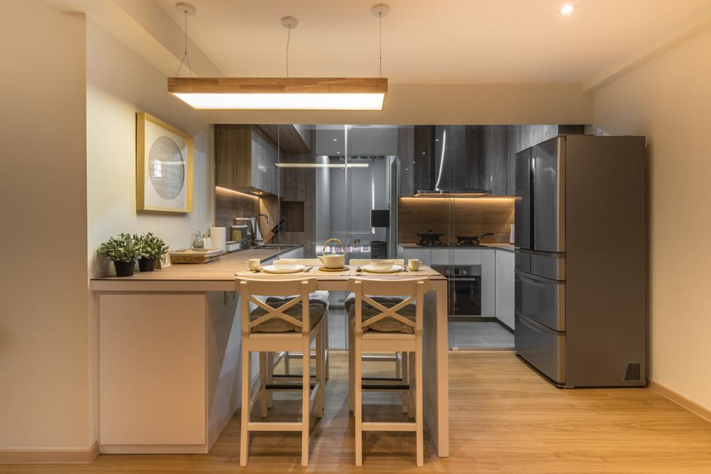 Minimalistic, HDB, Dining Room, Yung Loh, Interior Designer, Mr Shopper Studio, Indoors, Interior Design, Kitchen, Room, Dining Table, Furniture, Table