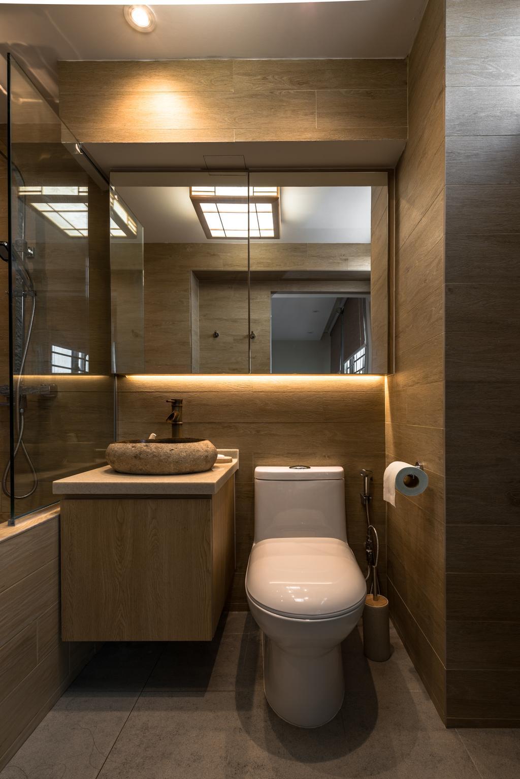 Minimalistic, HDB, Bathroom, Yung Loh, Interior Designer, Mr Shopper Studio, Toilet