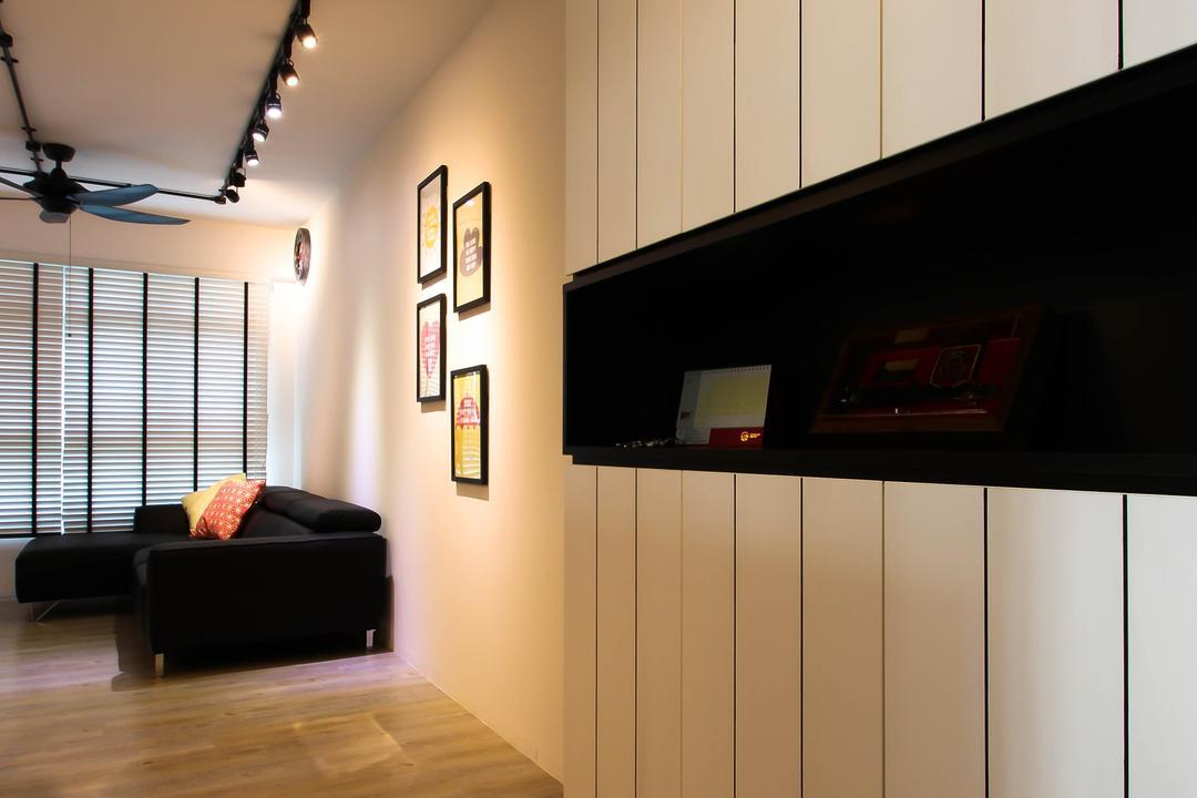 Punggol, Fifth Avenue Interior, Scandinavian, Living Room, HDB, , Passage Way, Black And White Cabinets, Black And White Shoe Cabinets, Black And White Display Cabinets, Display Cabinets, Tall Cabinets
