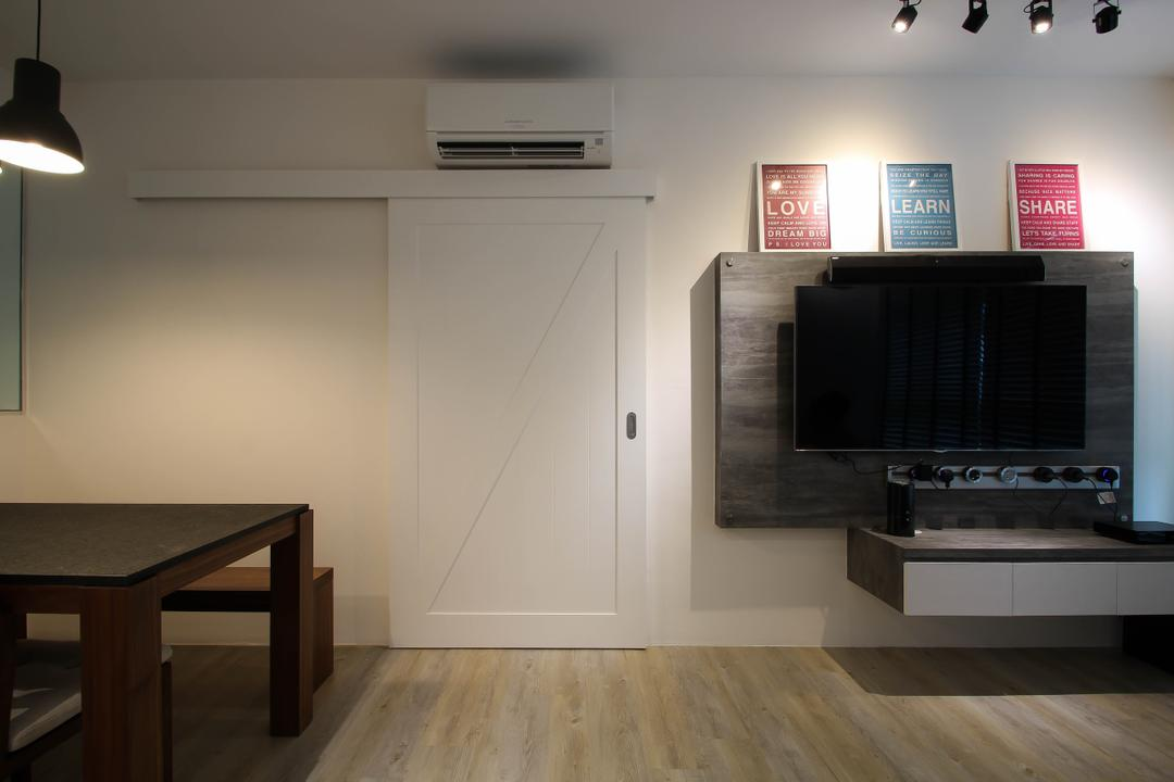 White Wooden Sliding Door Interior Design Singapore Interior