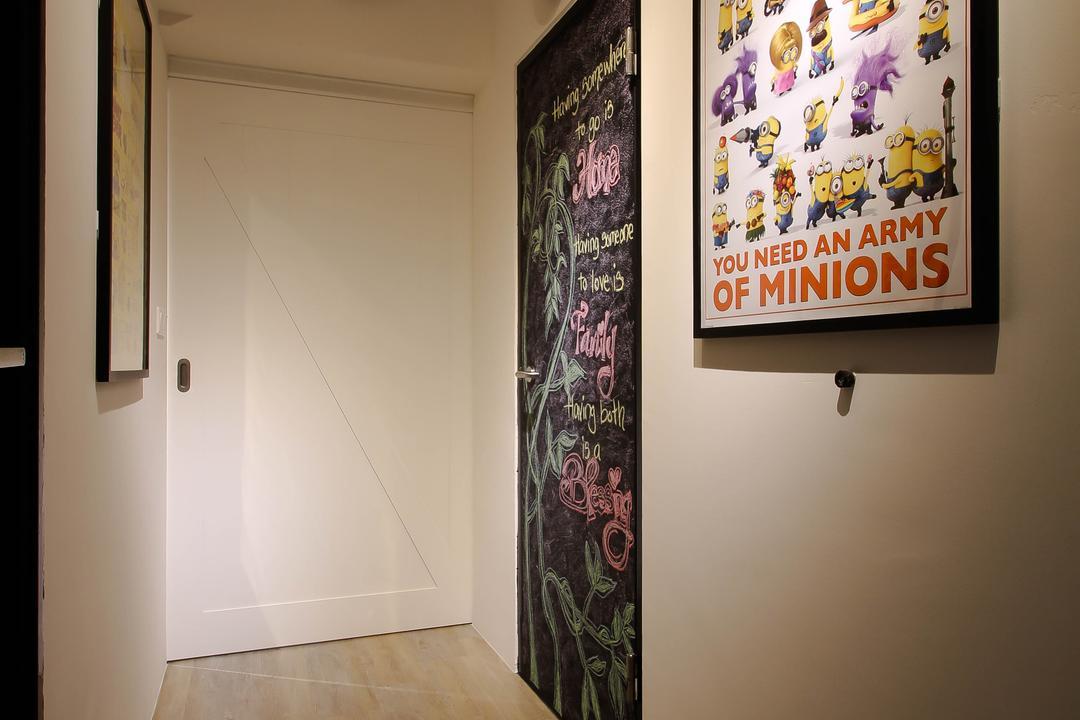 Punggol, Fifth Avenue Interior, Scandinavian, Living Room, HDB, Passage Way, Industrial Passage Way, Corridor Design, Corridor, Parquet, Parquet Floor, Wooden Floor, Wall Art, Picture Frame, Art