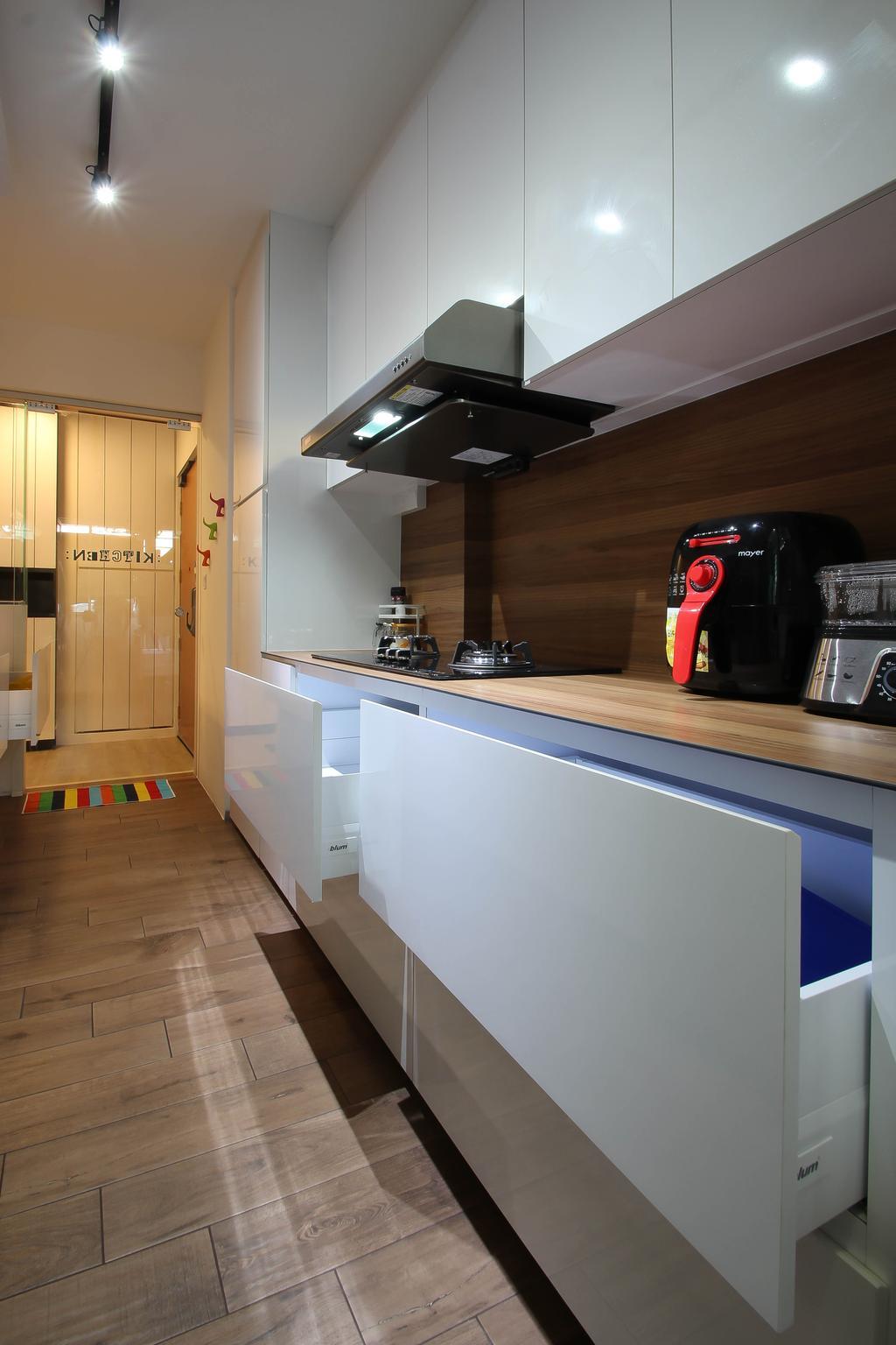 Scandinavian, HDB, Kitchen, Punggol, Interior Designer, Fifth Avenue Interior, Kitchen Draw, White Kitchen Drawers, Big Kitchen Drawers, Indoors, Interior Design, Room, Door, Sliding Door