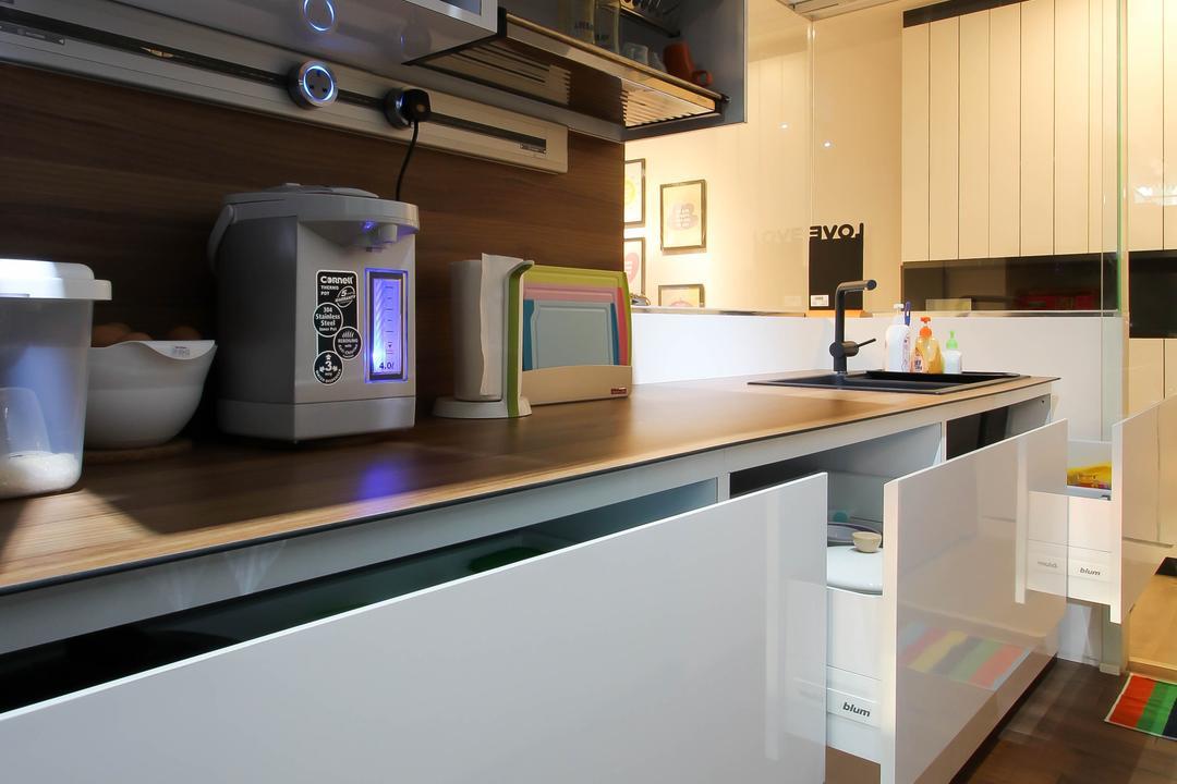 Punggol, Fifth Avenue Interior, Scandinavian, Kitchen, HDB, Kitchen Cabinets, Kitchen Cabinets Drawers, Cabinet Drawers, Kitchen Drawers, Kitchen Carpentry, Kitchen Furnishing