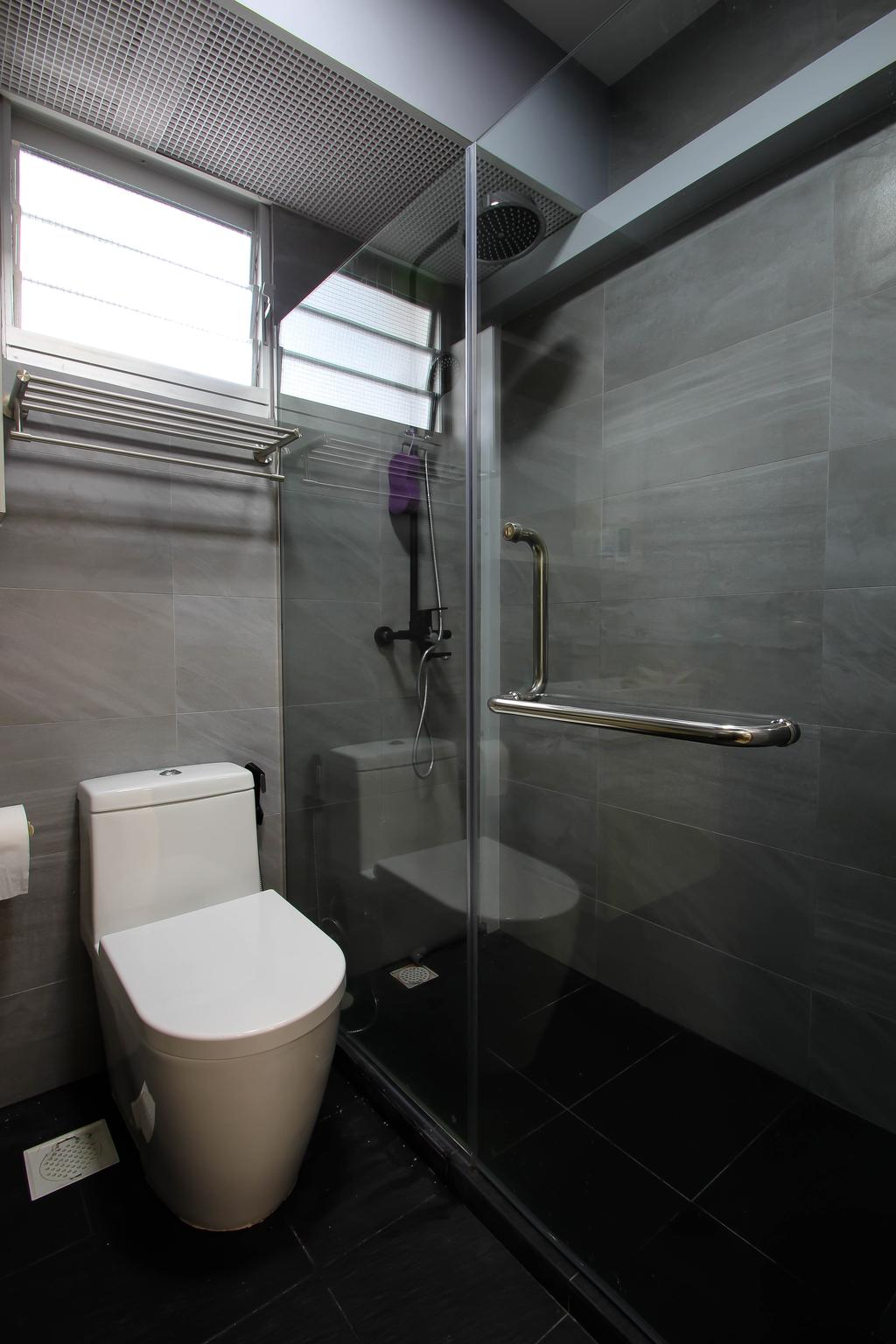 Scandinavian, HDB, Bathroom, Punggol, Interior Designer, Fifth Avenue Interior, Water Closet, White Water Closet, Toilet Bowl, White Toilet Bowl, Grey Bathroom, Grey Toilet, Grey Tiles, Simple Toilet, Minimalist, Minimalist Toilet, Glass Door, Glass Panels, Shower Glass, Shower Glass Door, Shower Area, Glass Door Handle, Toilet