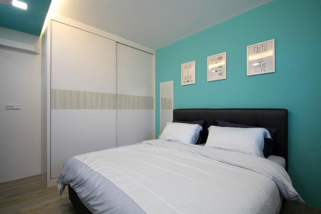 Scandinavian, HDB, Bedroom, Punggol, Interior Designer, Fifth Avenue Interior, Aqua Wall, Aqua And White, Aqua And White Wal, White Sliding Wardrobe, White Wardrobe, Aqua False Ceiling, False Ceiling, Bedroom False Ceiling, Minimalist, Minimalist Bedroom, Bedframe, Simple Bedframe, Black Bed Frame, White Linens, Pillows, Quilt, White Quilt, Simple And Clean, Cove Lights, Bed, Furniture, Indoors, Interior Design, Room, Molding