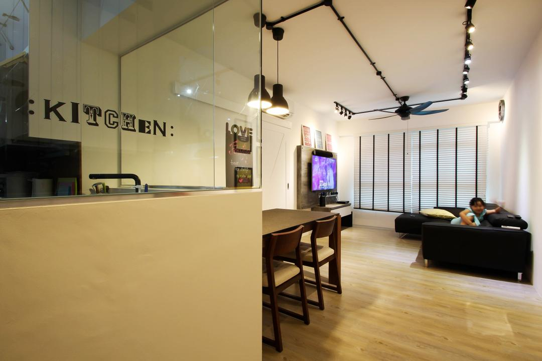 Punggol, Fifth Avenue Interior, Scandinavian, Living Room, HDB, Living Room Concept, Living Room Design, Living Room Ideas, Industrial Living, Industrial, Track Lights, Pendant Lights, Black Pendant Lights, Black Tracklights, Parquet, Parquet Flooring, Black Sofa, Sectionals, Black Sectionals, Black Ceiling Fan, Venetian Blinds, Blinds, Dining Set, Wooden Dining Set, Dining Area, Glass Panel, Kitchen Glass Panel, Minimalist, Bright And Spacious, Flooring, Dining Table, Furniture, Table
