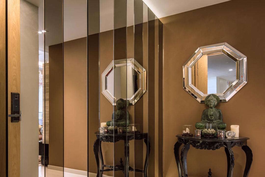 Bartley Residences, Weiken.com, Eclectic, Living Room, Condo, Indoors, Interior Design, Art, Buddha, Worship