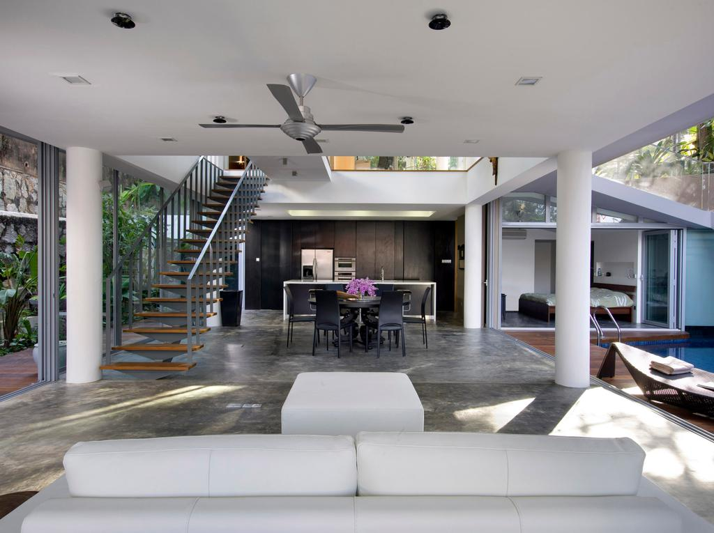 Contemporary, Landed, Living Room, Ooi House, Architect, Czarl Architects, Ceiling Fan, Sofa, Dining, Kitchen Island, Dining Table, Furniture, Table, Banister, Handrail, Staircase, Indoors, Interior Design