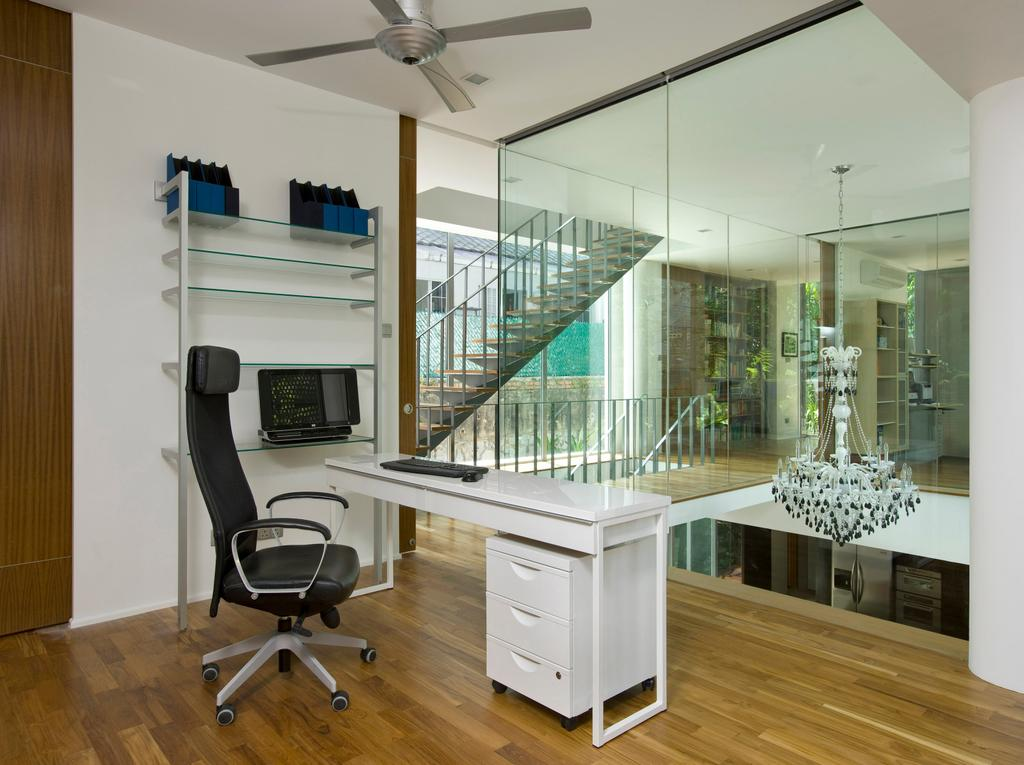 Contemporary, Landed, Study, Ooi House, Architect, Czarl Architects, Glass Partition, Study Table, Ceiling Fan, Study Desk, Bookcase, Chair, Furniture, Door, Sliding Door, Indoors, Interior Design