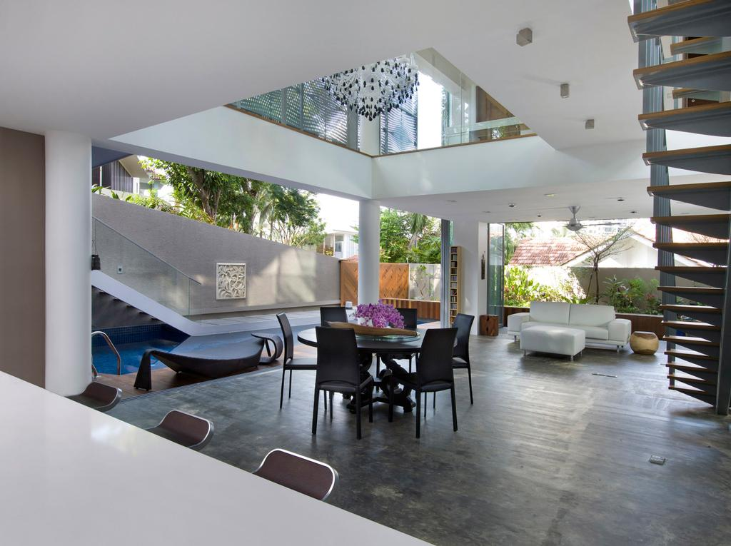 Contemporary, Landed, Dining Room, Ooi House, Architect, Czarl Architects, Stairs, Tiles, Chandelier, Bar Stool, Kitchen Island, Island Counter, Flora, Jar, Plant, Potted Plant, Pottery, Vase, Dining Table, Furniture, Table, Indoors, Interior Design, Room