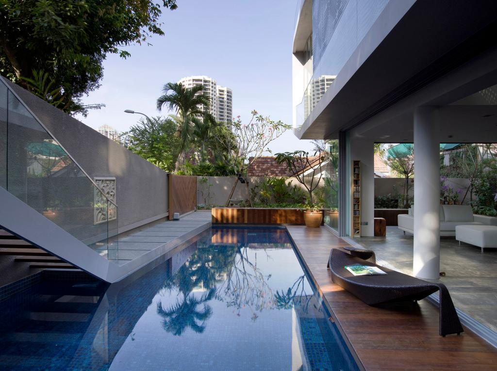 Contemporary, Landed, Balcony, Ooi House, Architect, Czarl Architects, Pool, Pool Deck, Wooden Deck, Pool Stairs, Lounge, Flora, Jar, Plant, Potted Plant, Pottery, Vase, Water, Building, House, Housing, Villa, Jacuzzi, Tub