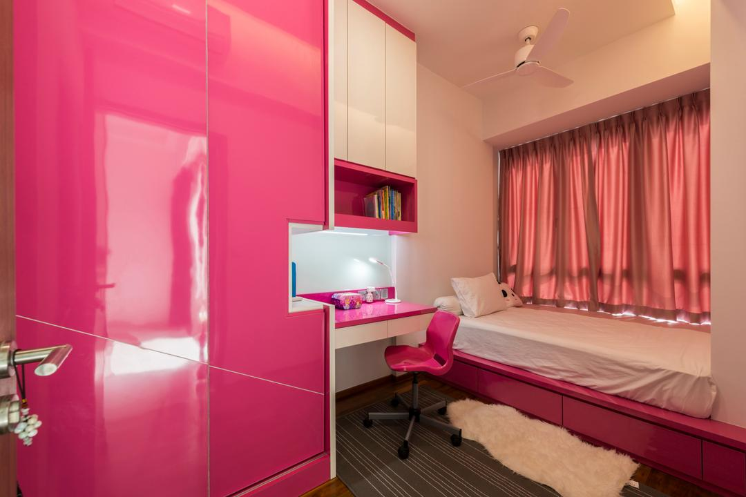 St. Michael's Road, DreamCreations Interior, Traditional, Bedroom, HDB, Kids Room, Girls Room, Pink Room, Feminine, Kids Room, Childrens Room, Hot Pink, Fuschia, Shelf, Indoors, Interior Design, Chair, Furniture, Room