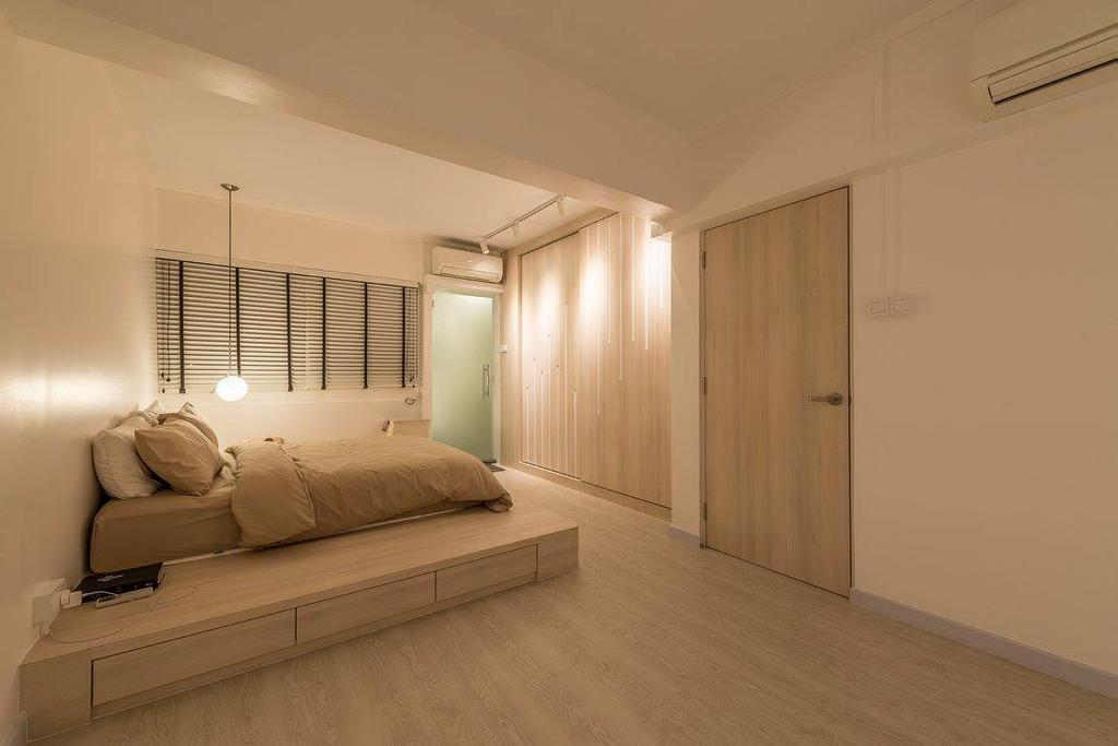 Minimalistic, HDB, Bedroom, Potong Pasir, Interior Designer, Ace Space Design, Contemporary, Modern, Curtain, Home Decor, Window, Window Shade