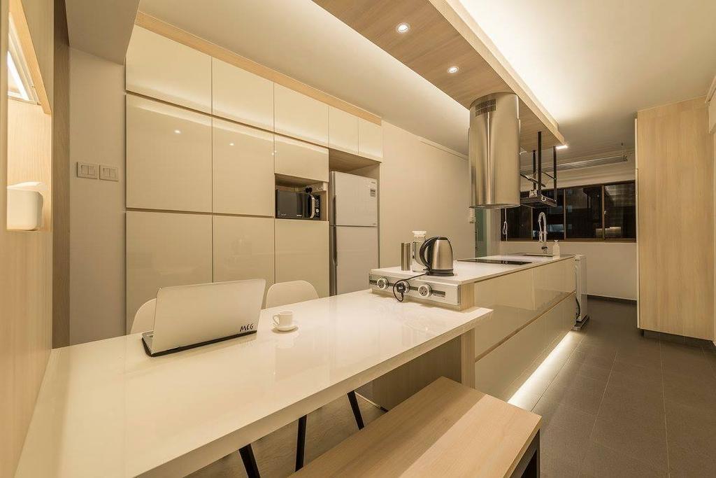 Minimalistic, HDB, Kitchen, Potong Pasir, Interior Designer, Ace Space Design, Contemporary, Modern, Indoors, Interior Design, Sink, Molding
