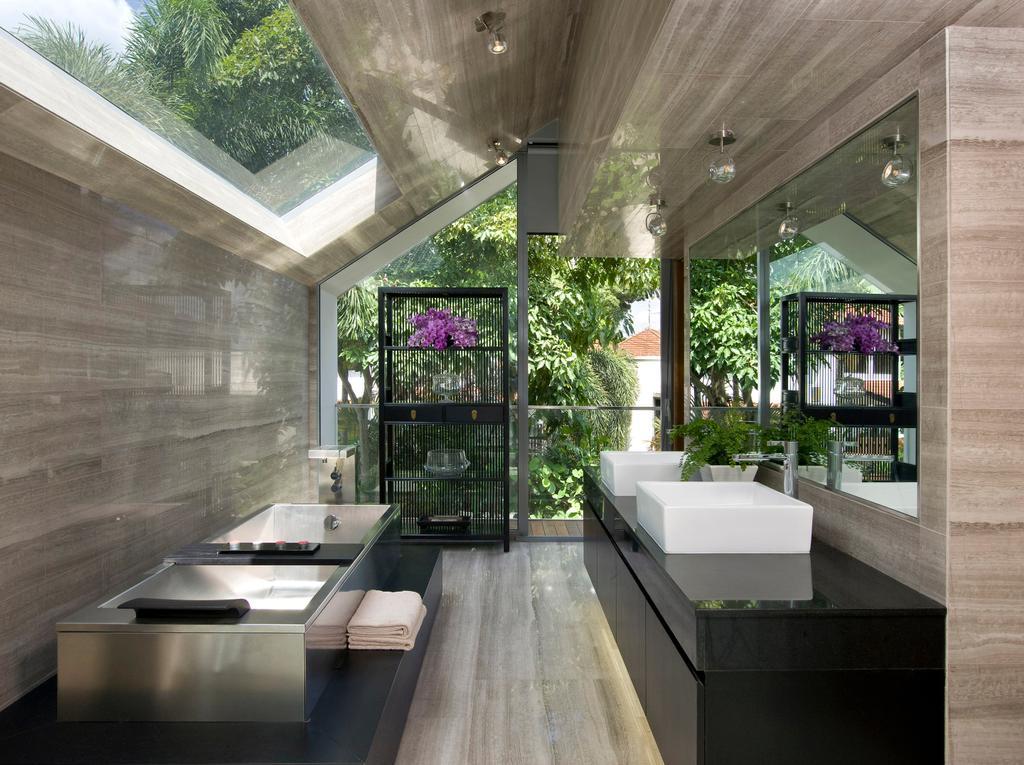 Contemporary, Landed, Bathroom, Ooi House, Architect, Czarl Architects, Balcony, Flora, Jar, Plant, Potted Plant, Pottery, Vase, Sink