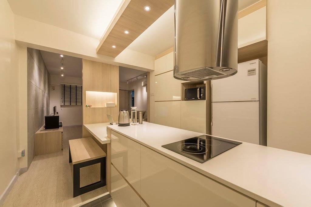 Minimalistic, HDB, Kitchen, Potong Pasir, Interior Designer, Ace Space Design, Contemporary, Modern, Lighting, Indoors, Interior Design