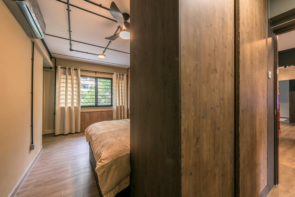 Industrial, HDB, Bedroom, Queen's Close, Interior Designer, Ace Space Design, Retro