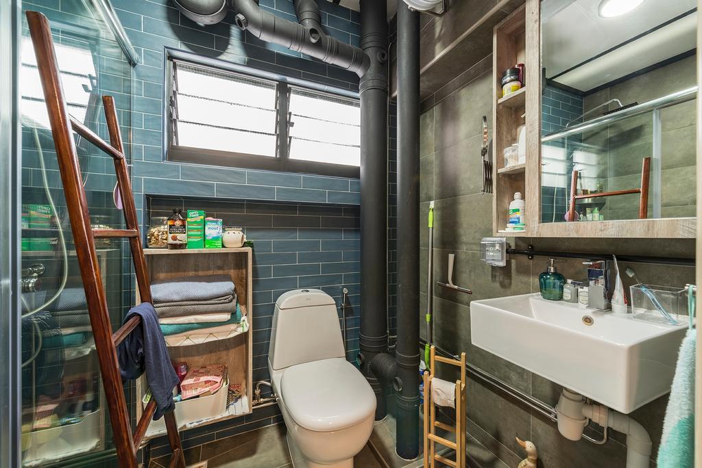 Industrial, HDB, Bathroom, Queen's Close, Interior Designer, Ace Space Design, Retro, Toilet, Sink
