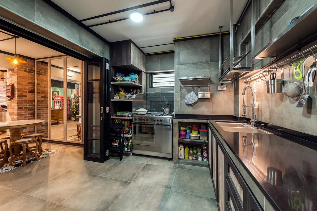 Industrial, HDB, Kitchen, Queen's Close, Interior Designer, Ace Space Design, Retro, Dining Table, Furniture, Table
