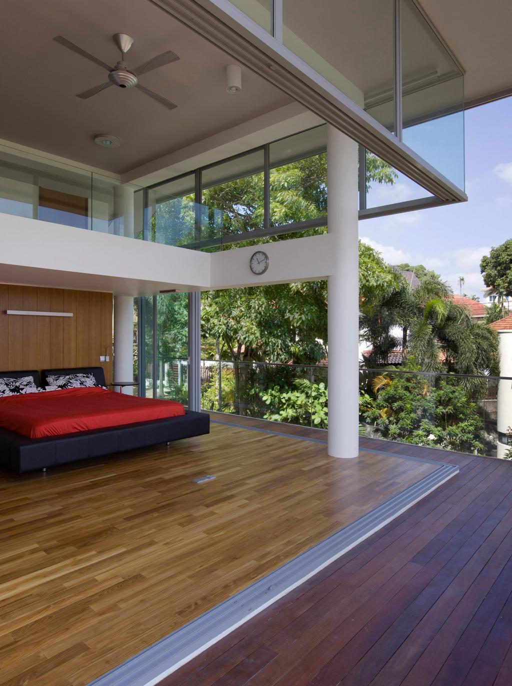 Contemporary, Landed, Bedroom, Ooi House, Architect, Czarl Architects, Open Concept, Open Air, Bed, Wooden Deck, Wood Platform, Furniture, Flora, Jar, Plant, Potted Plant, Pottery, Vase, Conifer, Tree