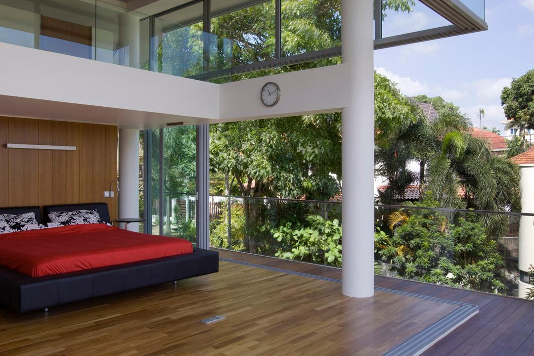 Ooi House, Czarl Architects, Contemporary, Bedroom, Landed, Open Concept, Open Air, Bed, Wooden Deck, Wood Platform, Furniture, Flora, Jar, Plant, Potted Plant, Pottery, Vase, Conifer, Tree