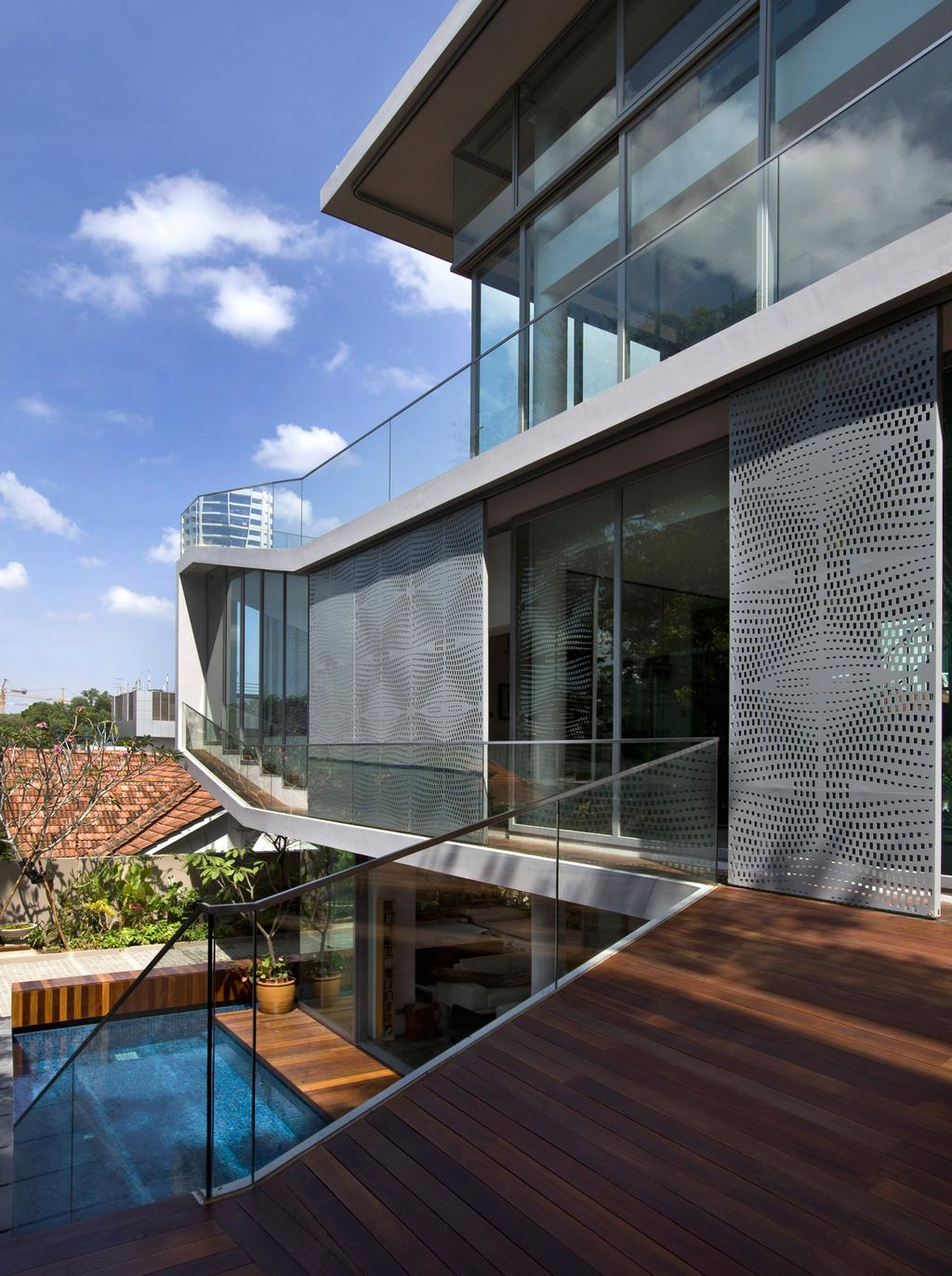 Contemporary, Landed, Balcony, Ooi House, Architect, Czarl Architects, Walkway, Boardwalk, Railing, Railway, Aluminium