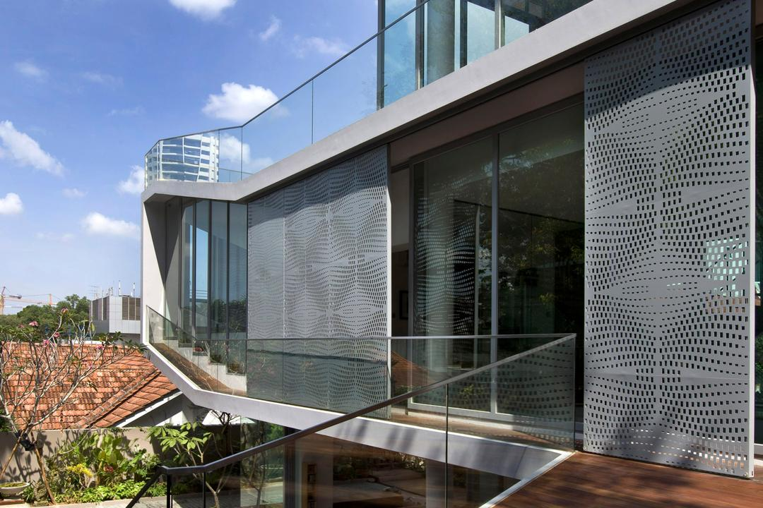 Ooi House, Czarl Architects, Contemporary, Balcony, Landed, Walkway, Boardwalk, Railing, Railway, Aluminium