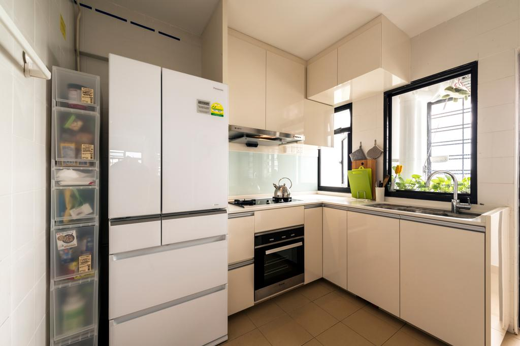 Modern, HDB, Kitchen, Kang Ching Road, Interior Designer, Tan Studio, Appliance, Electrical Device, Fridge, Refrigerator, Oven, Indoors, Interior Design, Room