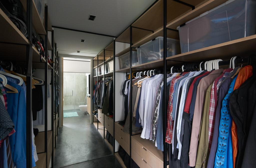 Industrial, HDB, Bedroom, Clementi Street 13, Architect, PROVOLK ARCHITECTS, Contemporary, Walk In Wardrobe, Wardrobe, Dressing Room, Human, People, Person, Building, Hostel, Housing