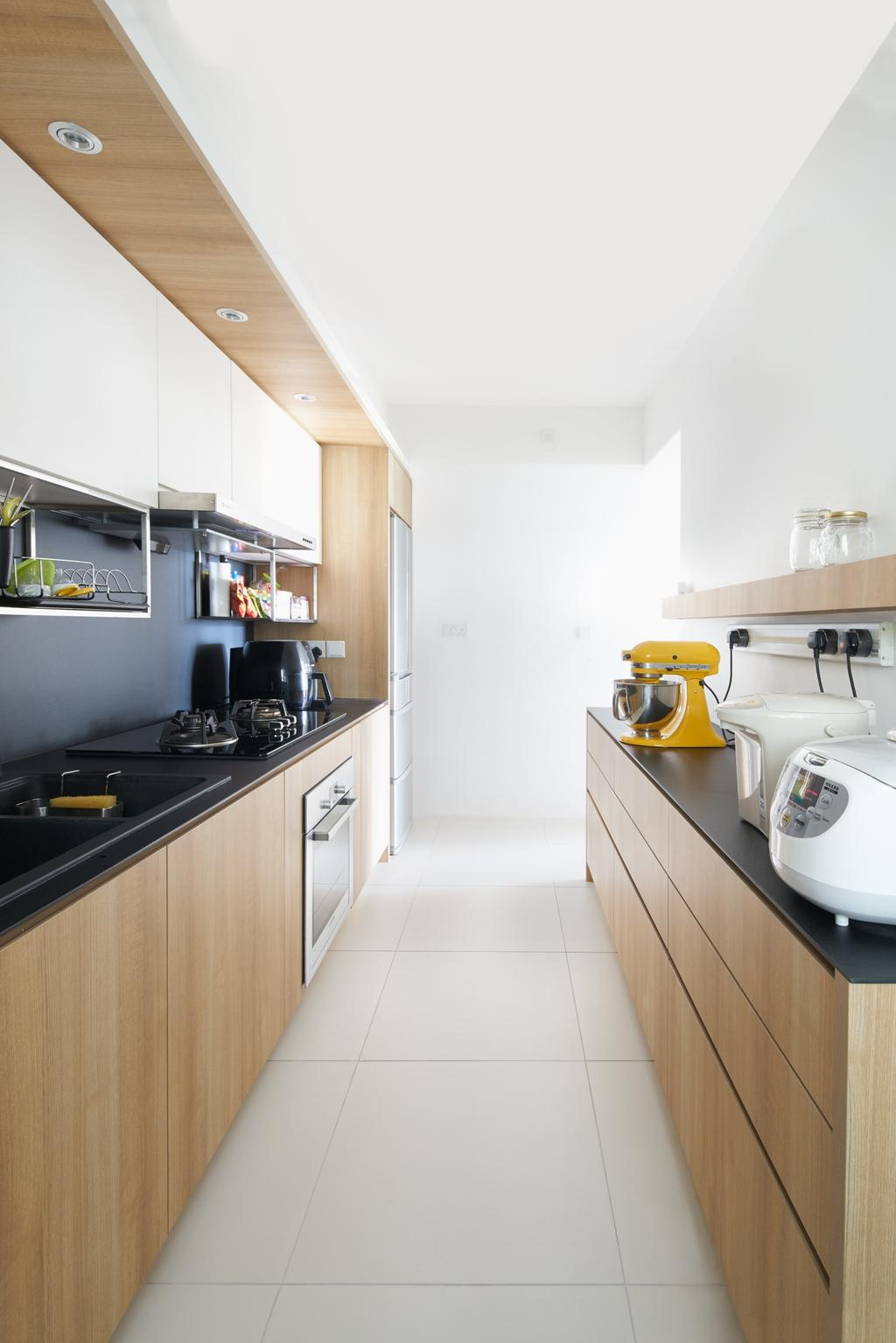 Scandinavian, HDB, Kitchen, Punggol Waterway Terraces (Block 308A), Architect, PROVOLK ARCHITECTS, Indoors, Interior Design, Room, Appliance, Electrical Device, Oven, Machine