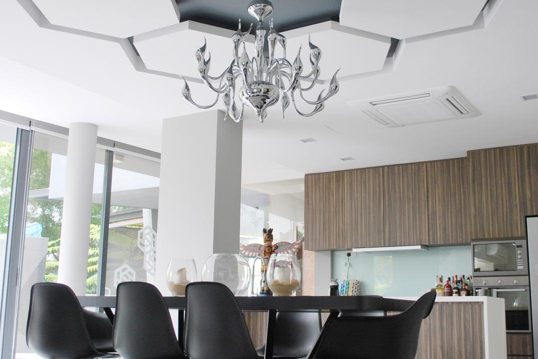 S House, Czarl Architects, Contemporary, Dining Room, Landed, Feature Ceiling, Wall Deocr, Chandelier, Overhanging Light, Dining Chairs, Eames, Cowhide, Tiles, Cushion, Headrest, Home Decor, Indoors, Interior Design, Room, Chair, Furniture