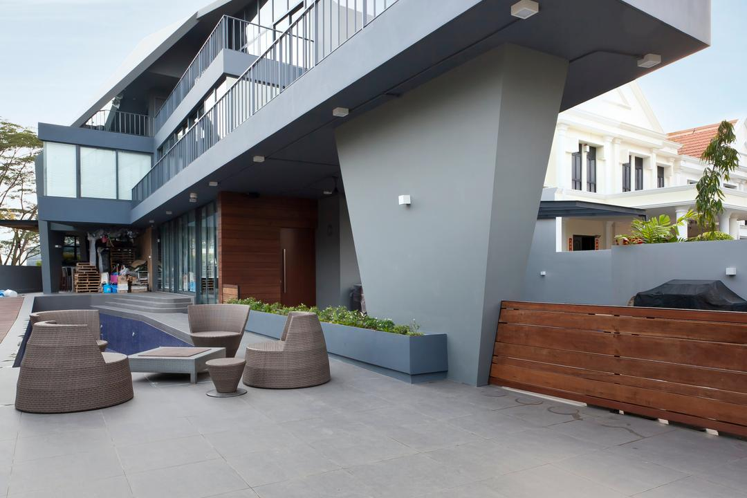 S House, Czarl Architects, Contemporary, Balcony, Landed, Upper Deck, Pool, Lounge Area, Tiles, Couch, Furniture, Bench