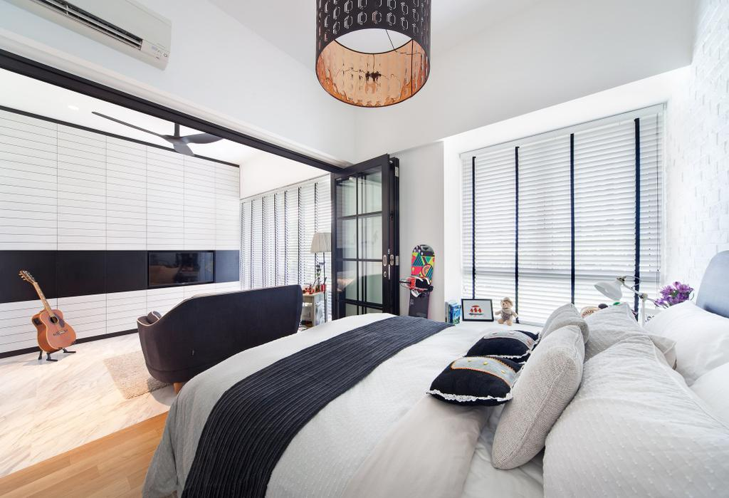 Contemporary, Condo, Bedroom, The Sorrento, Interior Designer, akiHAUS, Lamp, Lampshade, Indoors, Interior Design, Room