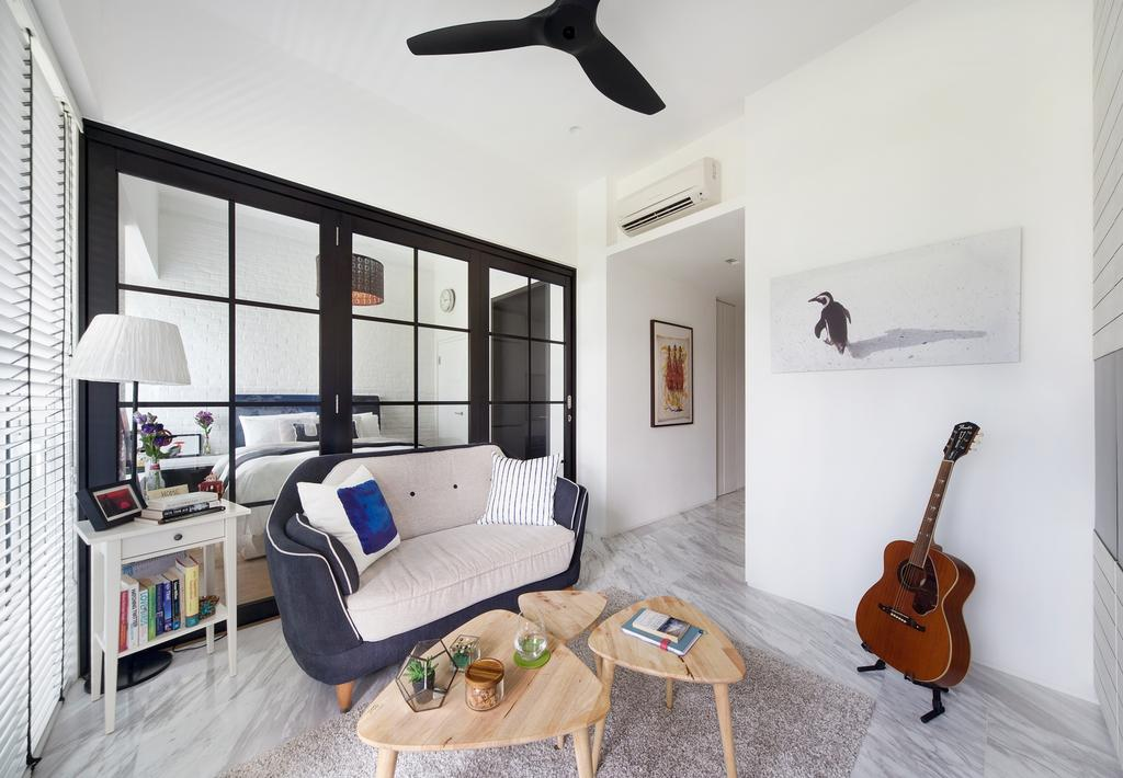 Contemporary, Condo, Living Room, The Sorrento, Interior Designer, akiHAUS, Couch, Furniture, HDB, Building, Housing, Indoors, Guitar, Leisure Activities, Music, Musical Instrument