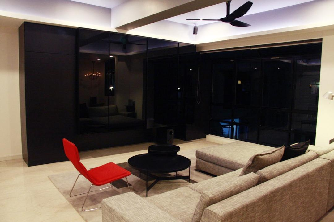 Parkvale, Czarl Architects, Modern, Living Room, Condo, Tv Console, Hidden Tv Storage, Black Sliding Doors, Tiles, Rug, Sofa, Coffee Table, Black, Couch, Furniture, Table