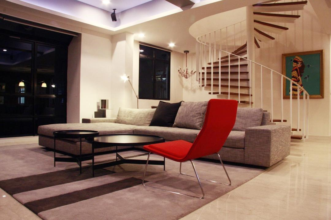 Parkvale, Czarl Architects, Modern, Living Room, Condo, Stairway, Hanging Portrait, Staircase, Stairs, Rug, Sofa, Neutral Theme, Tiles, Couch, Furniture, Chair, Bench, Indoors, Interior Design