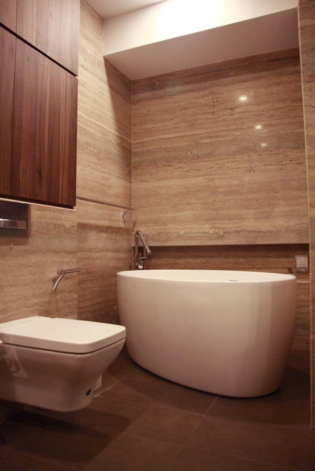 Modern, Condo, Bathroom, Parkvale, Architect, Czarl Architects, Bathtub, Water Closet, Toilet Bowl, Wooden Storage, Toilet Storage, Bidet, Tiled Wall, Bath Storage
