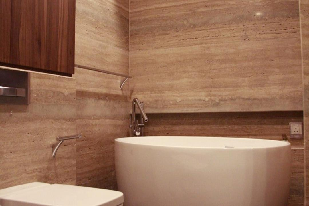 Parkvale, Czarl Architects, Modern, Bathroom, Condo, Bathtub, Water Closet, Toilet Bowl, Wooden Storage, Toilet Storage, Bidet, Tiled Wall, Bath Storage