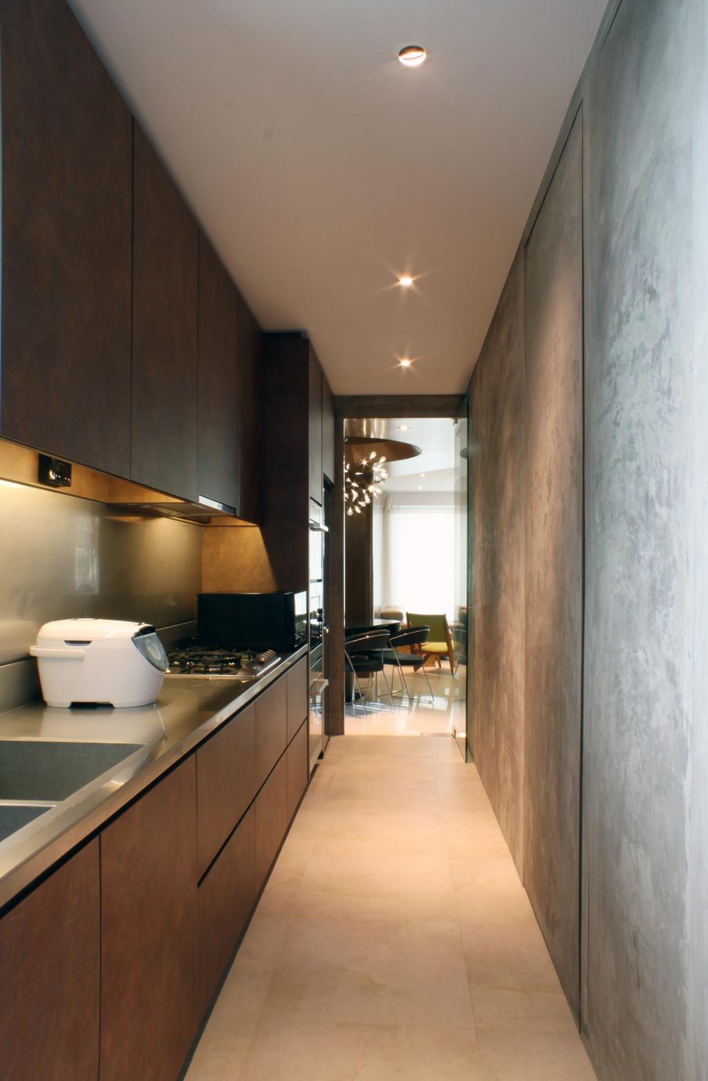 Contemporary, Condo, Kitchen, The Riverine, Architect, Czarl Architects, Kitchen Cabinetry, Dark Colours, Kitchen Countertop, Solid Surface, Tiles, Stove, Indoors, Interior Design, Appliance, Electrical Device, HDB, Building, Housing, Loft