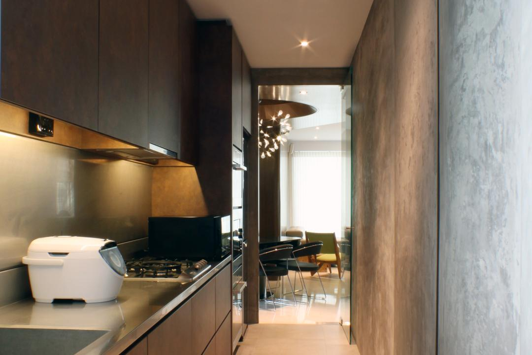 The Riverine, Czarl Architects, Contemporary, Kitchen, Condo, Kitchen Cabinetry, Dark Colours, Kitchen Countertop, Solid Surface, Tiles, Stove, Indoors, Interior Design, Appliance, Electrical Device, HDB, Building, Housing, Loft