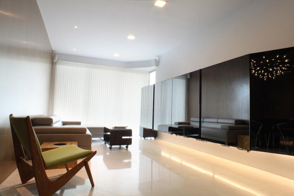 Contemporary, Condo, Living Room, The Riverine, Architect, Czarl Architects, Tv Storage, Cove Lighting, Tiles, Spotlights, Blinds, Recessed Lighting, Reflective Surfaces, Chair, Furniture, Conference Room, Indoors, Meeting Room, Room, Candle