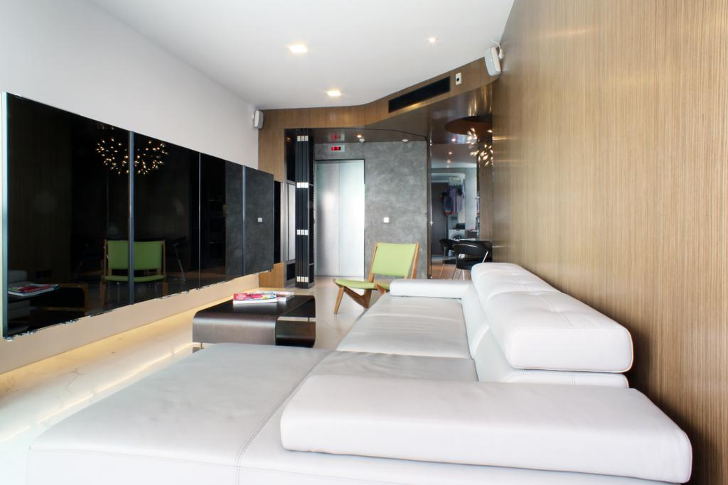 Contemporary, Condo, Living Room, The Riverine, Architect, Czarl Architects, Sofa, Rug, Coffee Table, Wooden Panel, Divider, Room Divider, Lift, Main Entrance, Tv Storage, Cove Lighting, Indoors, Lobby, Room, HDB, Building, Housing, Loft