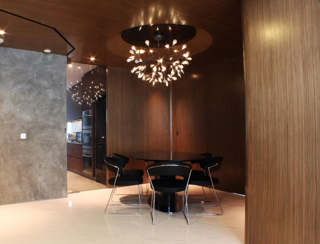 Contemporary, Condo, Dining Room, The Riverine, Architect, Czarl Architects, Hanging Lamp, Chandelier, Round Table, Corner, Indoors, Interior Design, Room, Glass, Chair, Furniture, Appliance, Electrical Device, Fridge, Refrigerator, Couch