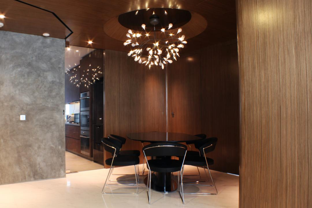 The Riverine, Czarl Architects, Contemporary, Dining Room, Condo, Hanging Lamp, Chandelier, Round Table, Corner, Indoors, Interior Design, Room, Glass, Chair, Furniture, Appliance, Electrical Device, Fridge, Refrigerator, Couch
