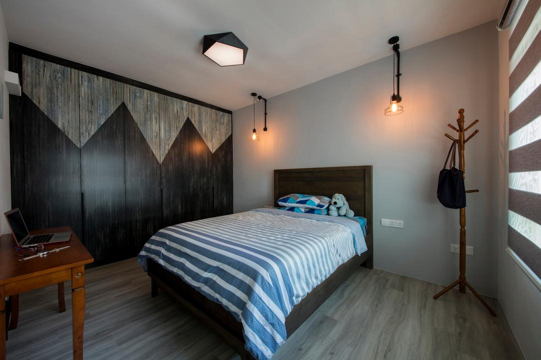 Anchorvale Road (Block 313B), Chapter One Interior Design, Industrial, Bedroom, HDB, Coat Rack, Indoors, Interior Design, Room, Bed, Furniture, Chair