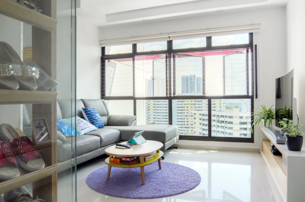 Scandinavian, HDB, Living Room, Clementi (Block 456), Architect, FOMA Architects, Flora, Jar, Plant, Potted Plant, Pottery, Vase, Chair, Furniture, Clothing, Footwear, Shoe, Balcony