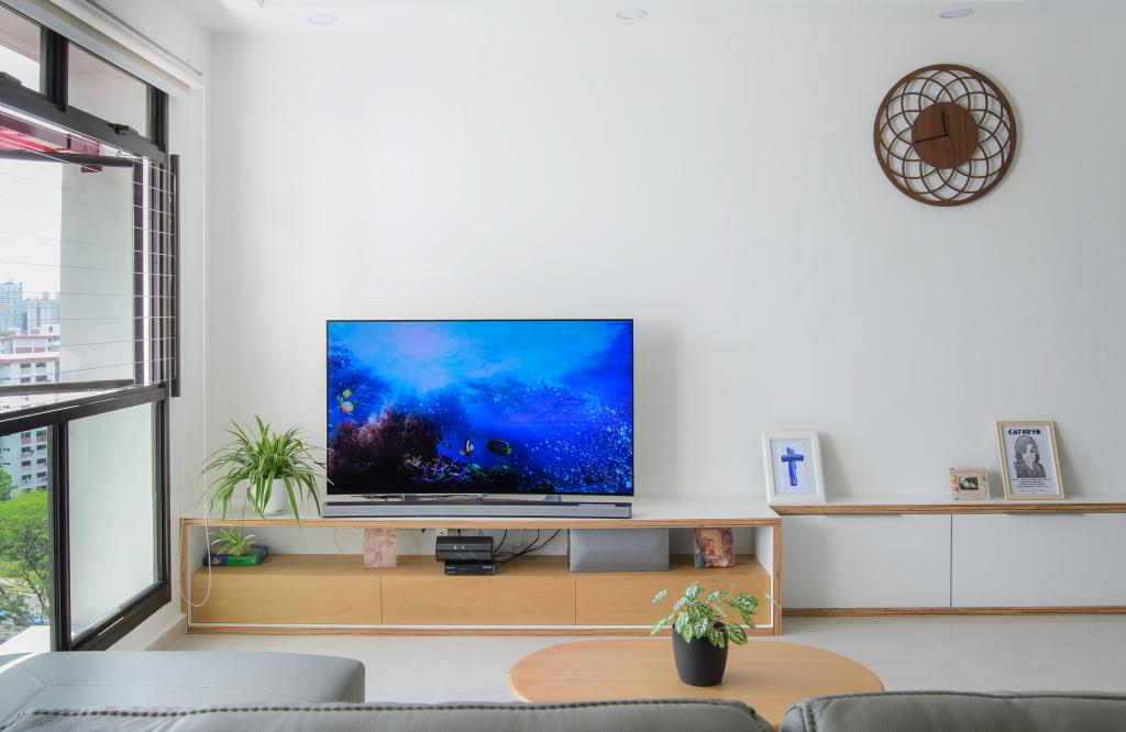 Scandinavian, HDB, Living Room, Clementi (Block 456), Architect, FOMA Architects, Flora, Jar, Plant, Potted Plant, Pottery, Vase, Electronics, Lcd Screen, Monitor, Screen