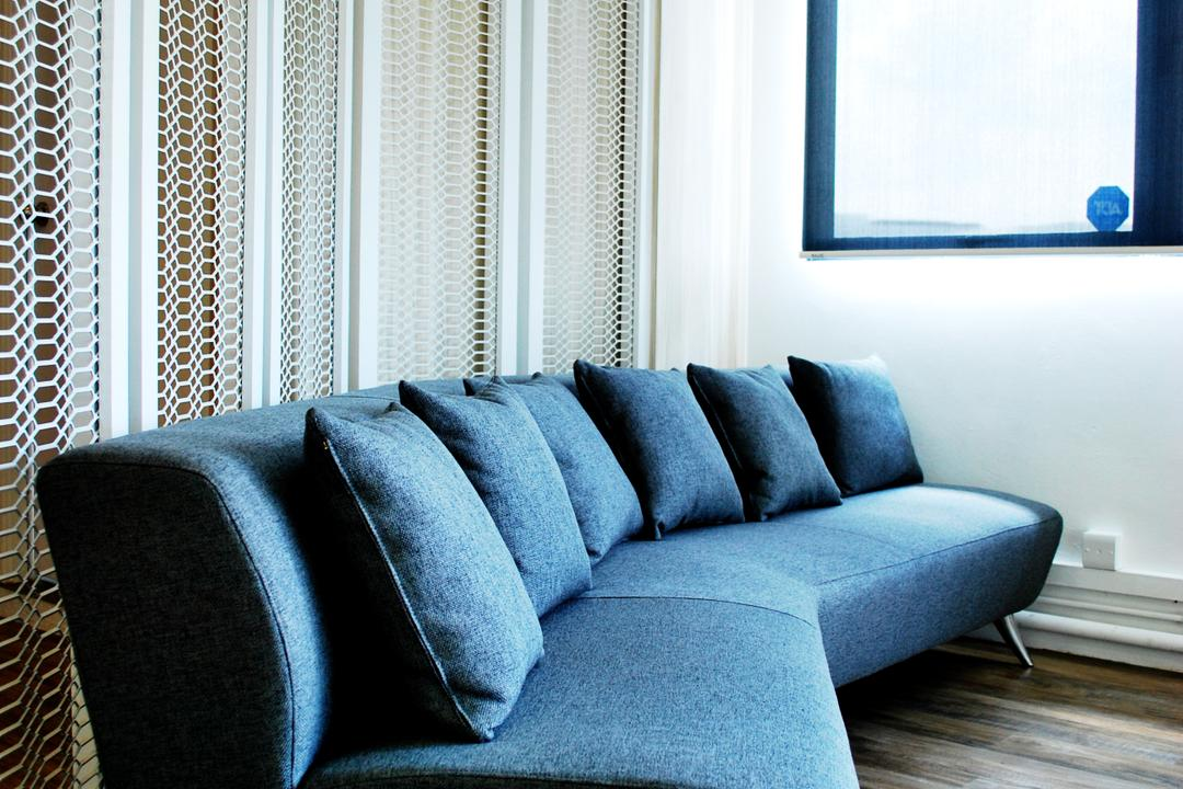 Roxtec, Czarl Architects, Contemporary, Commercial, Sofa, Rustic Flooring, Laminate, Window, Metal Grille, Partition, Couch, Furniture